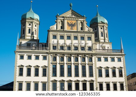 The Townhall (Rathaus) of Augsburg in Bavaria, Germany, Europe. - stock photo