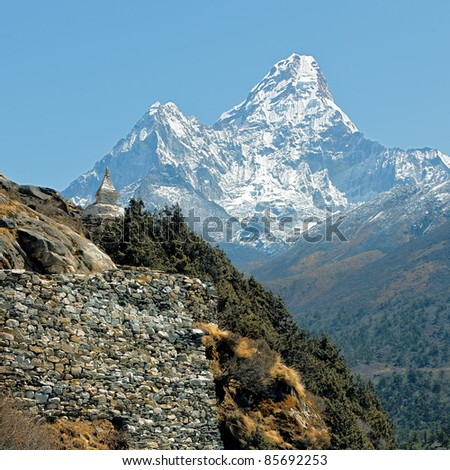 The track to Mt. Everest near of peak Ama Dablam - Nepal - stock photo