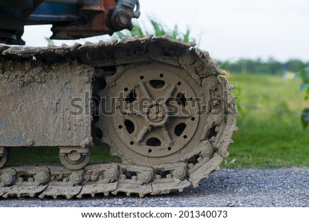 The tracks on a bulldozer