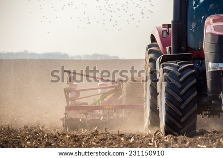 the tractor harvester working...