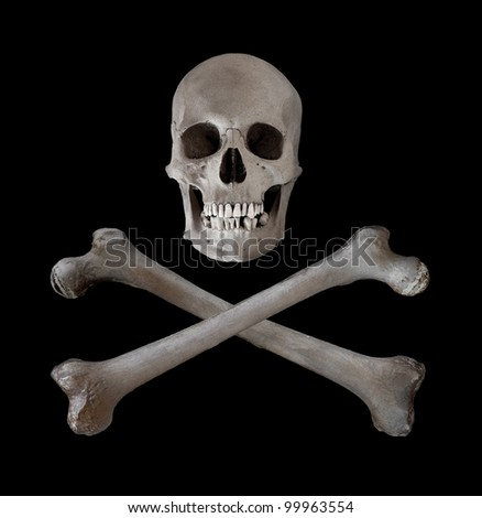 The traditional danger and warning symbol of a human skull with two crossed femur bones beneath.  Used as a pirate pennant in the seventeenth and eighteenth centuries.