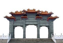 the traditional gray marble chinese pavilion gate arch isolated on white background, clipping path