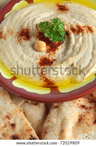 The traditional Middle Eastern chickpea dip, hummus with tahini, served with Egyptian flat bread. - stock photo