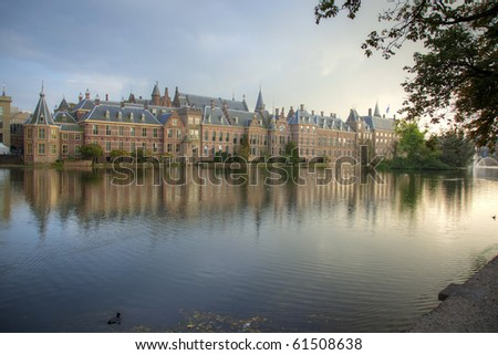 The traditional office of the Dutch Prime minister in the center of The Hague, the Netherlands, Europe, known as his tower, next to the parliament, with the lake in front of it