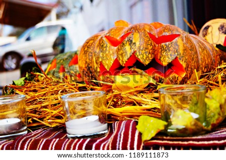 The traditional outdoor helloween decoration with pumpkin. The helloween  celebration party