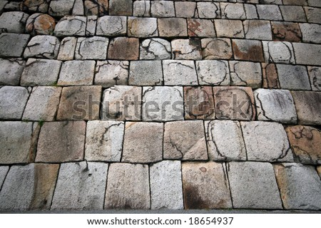 The traditional style of stone wall for making castles in Japan