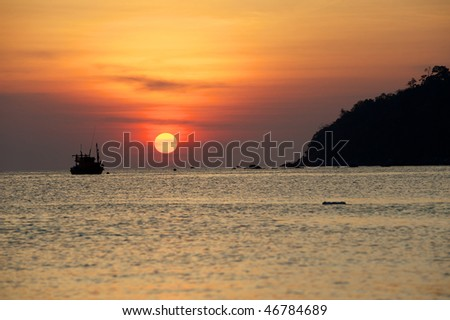 The traditional Thai longtail boat, Koh Lipe, Thailand. Sunset