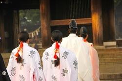 The traditional wedding in Meiji shrine Tokyo , Japan.