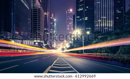the traffic light trails of city #612992669