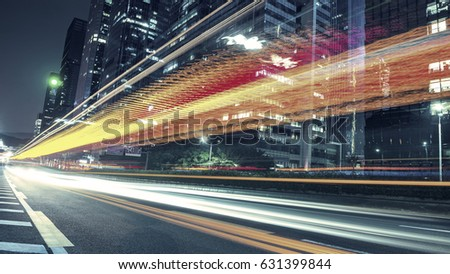the traffic light trails of city #631399844