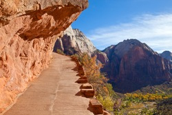 The trail to Angels Landing in Zion Canyon National Park, Utah.