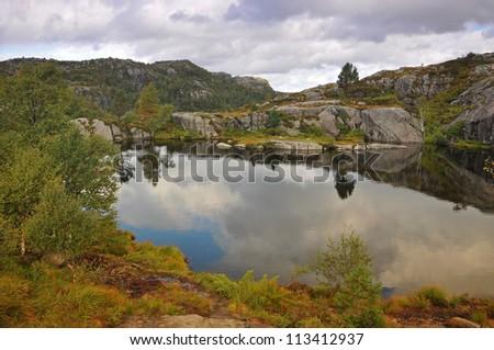 The trail to Preikestolen. Norway