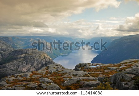 The trail to Preikestolen. Norway