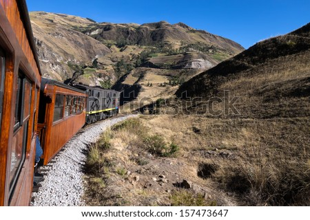 The Train ride (Nariz Del Diablo) from Riobamba in Ecuador is extremely scenic, the highlight being the Devil's Nose and Alausi­ round trip, with zig-zags.   #157473647