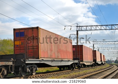 The train transportation of cargoes by rail in containers