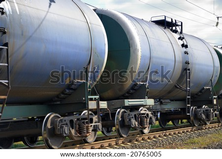 The train transports tanks with oil and fuel - stock photo