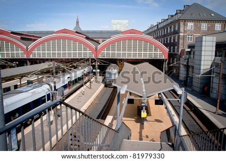 The trainstation in Copenhagen, Denmark