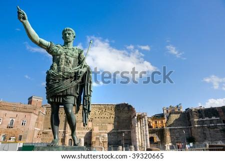 The Trajan Forum, with bronze statue of Caesar, Rome, Italy. - stock photo