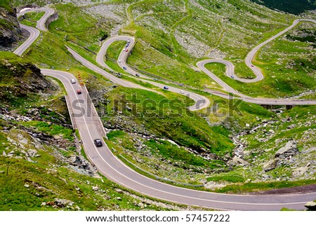 The Transfagarasan road in Romania, crossing the mountains
