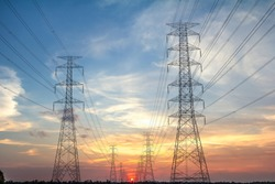 The Transmission Line and Tower With Sunset Blue Sky, Electricity Transmission