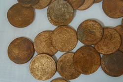 The treasure found. Fabulous treasure with many old coins of pre-revolutionary Russian Empire
