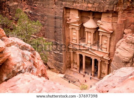 The Treasury. Ancient city of Petra carved out of the rock, Jordan