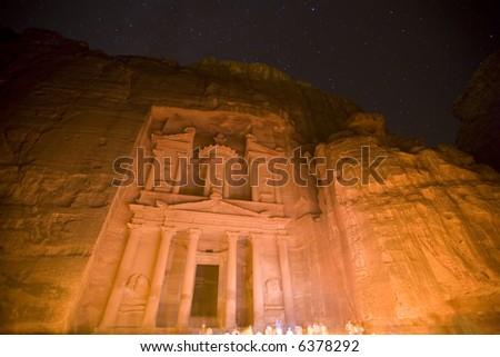 The Treasury at Petra Jordan lit under the stars - stock photo