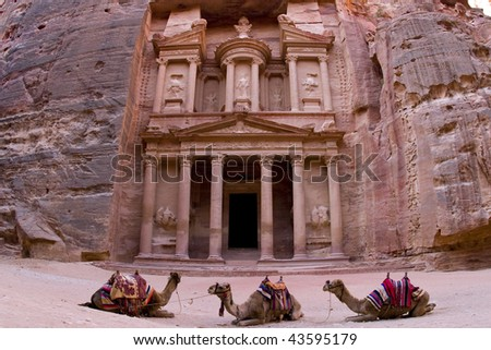 the Treasury building in Petra Jordan. - stock photo