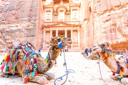 The Treasury in the ancient Jordanian city of Petra, Jordan.  It is known as Al Khazneh. Petra has led to its designation as a UNESCO World Heritage Site.