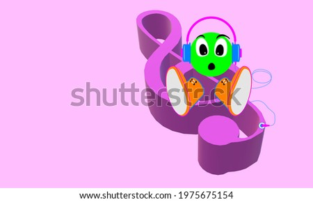 The treble G clef. MUSICAL SYMBOL. Key signature. 3D Illustration with reference to art. Poster of music, writing sign. Face with expression. Green emoticon, doll with headphones listening to music. Stock fotó ©