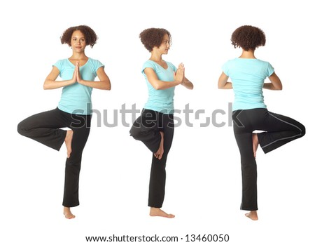 The tree pose (vrikshasana) shown in three views