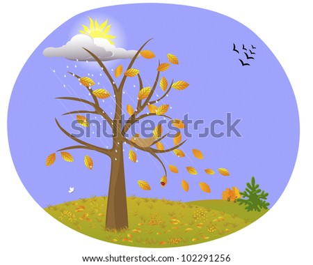The tree with yellow leaves on the background of the autumn landscape and the birds flying away. Raster version.