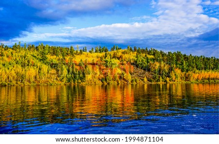 The trees of the autumn forest are reflected in the river water. Autumn nature river landscape. Autumn river reflection. River in autumn colors