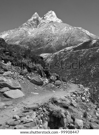 The trek near Ama Dablam (Everest region) (black and white) - Nepal, Himalayas