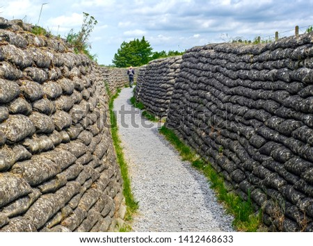 The Trenches of WWI site in Ieper Belgium; Allied and German soldiers died in three major battles between 1914 and 1917.