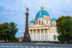 The Trinity Cathedral and the Column of Glory, Saint Petersburg, Russia. The Cathedral, a russian orthodox church built in Empire style, is a major landmark and one of the biggest churches in the city