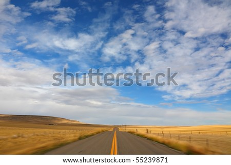 The trip by car early in the morning. Dawn of Montana - stock photo