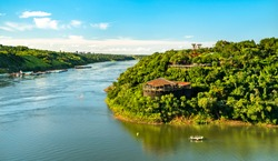 The triple border of Paraguay, Argentina and Brazil at the confluence of the Parana and Iguazu rivers