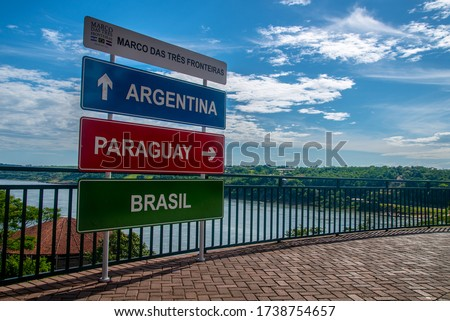 The Triple Frontier, a tri-border area  between Paraguay, Argentina and Brazil, Brazilian side. 'Marco das tres fronteiras' means 'landmark of the three borders'. 'Foz do Iguacu'- name of the city. Stock foto ©