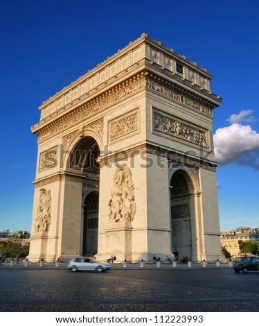 The Triumphal Arch (Arc de Triomphe) on Place Charles de Gaulle in Paris, France.