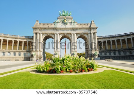 The Triumphal Arch in Cinquantenaire Parc in Brussels , Belgium in clear day