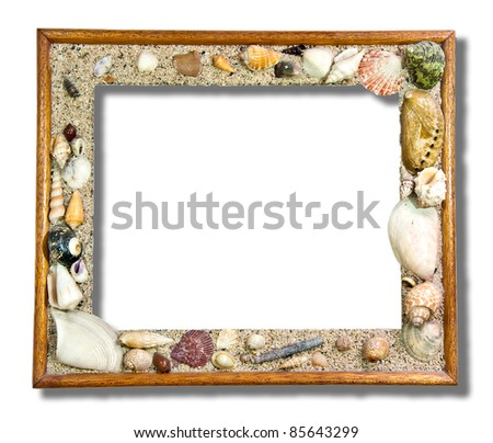 The Tropical photo frame with seashells isolated on white background