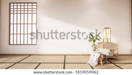 The Tropical style Chaina room interior design with tatami mat floor and white wall.3D rendering Stok fotoğraf ©