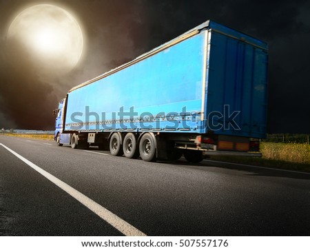 The truck driving towards sunset #507557176