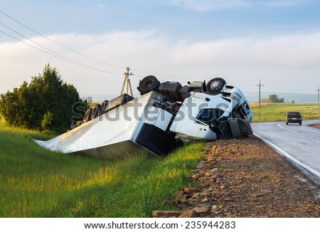 truck up side down