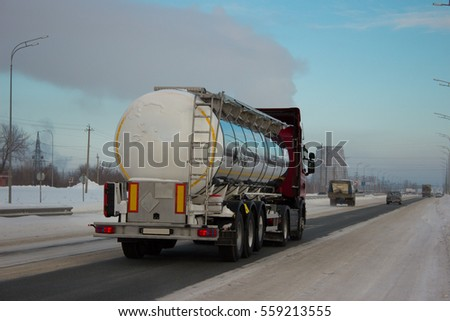 The truck on road. Container on the big highway. transport loads #559213555