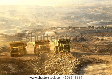 The  trucks at worksite