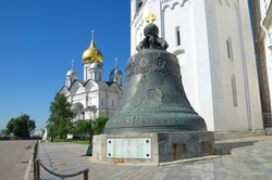 The Tsar bell and Archangel Cathedral in the Moscow Kremlin, Moscow, Russia