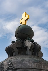 The Tsar Bell in Moscow Kremlin (Russia). Fragment king bell close-up with a cross from above