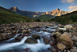 The Tugela River flows gently down from the slopes of the Ampithetare in the Royal Natal National Park in the Drakensberg Mountains
